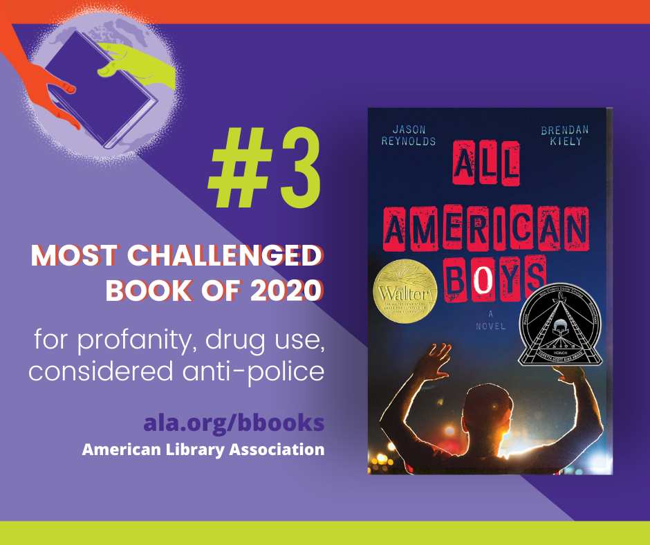 All American Boys #3 Challenged Book of 2020 for profanity, drug use, considered anti-police