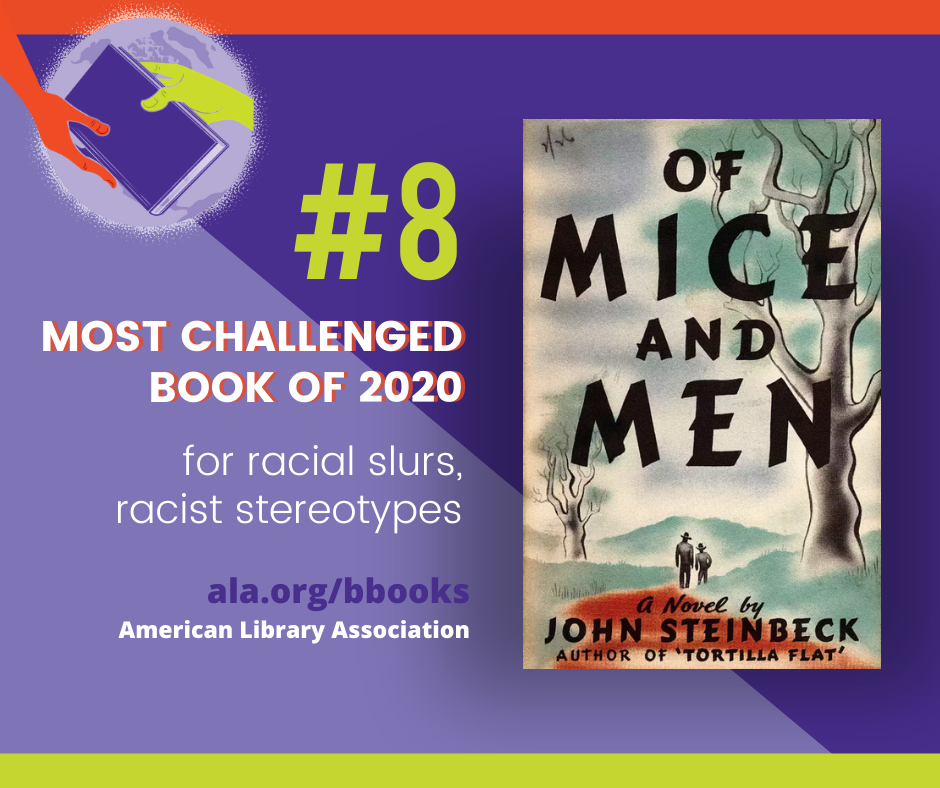 Of Mice and Men #8 Most Challenged Book of 2020 for racial slurs, racist stereotypes