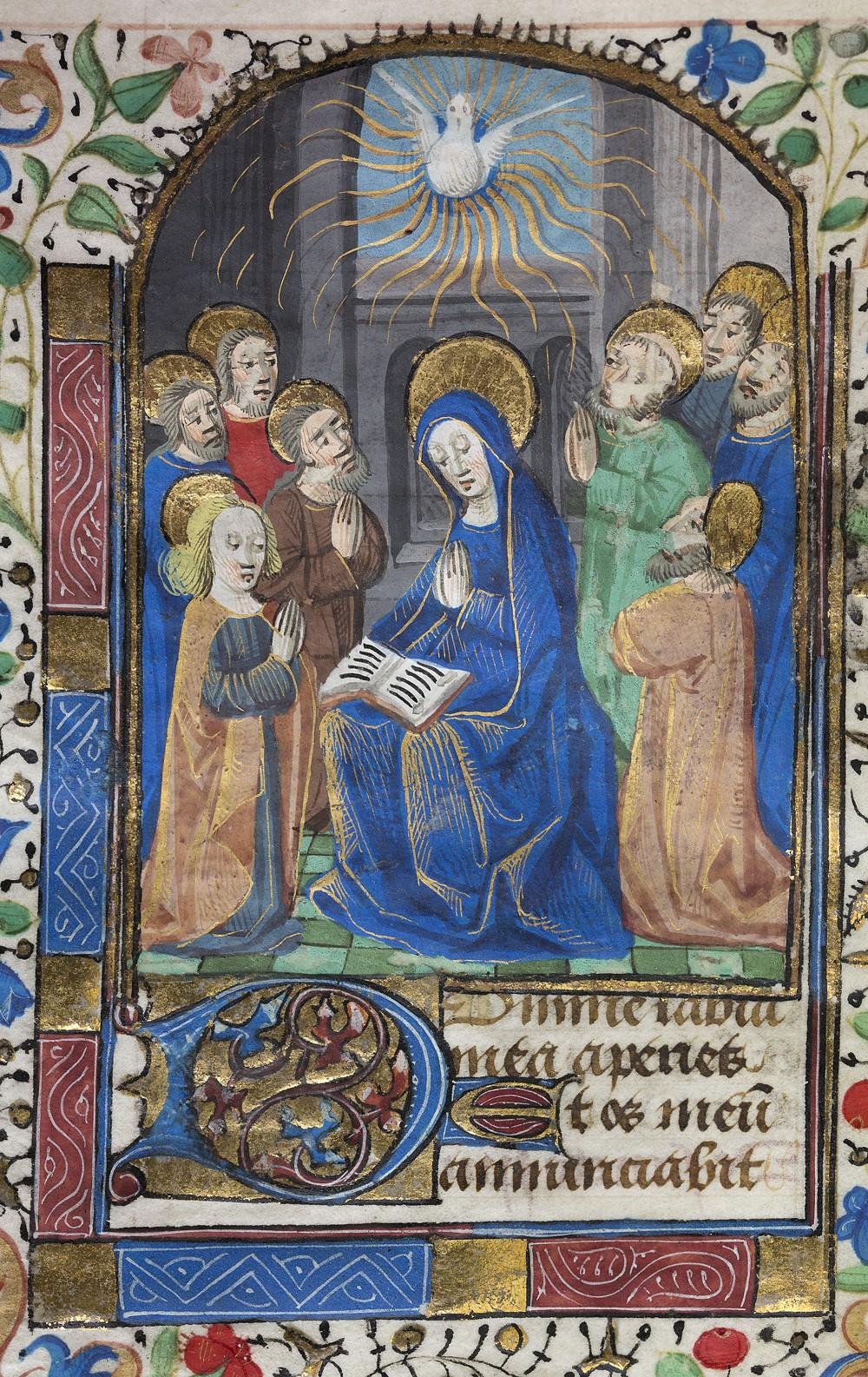 15th century Illumination of Mary and the Holy Spirit