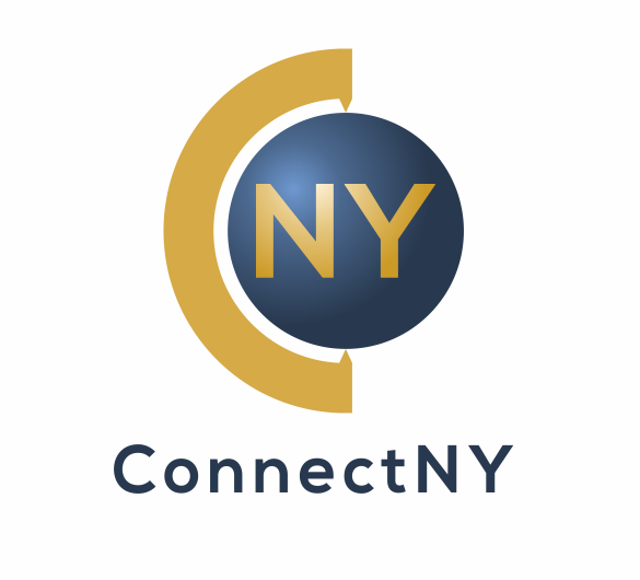 Connect NY Logo with the letters NY in a blue and gold globe