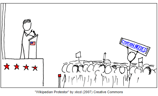 Cartoon with a speaker and participant holding up a Citation Needed sign