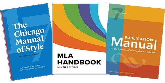 Covers of the Chicago, MLA, and APA manuals and handbooks