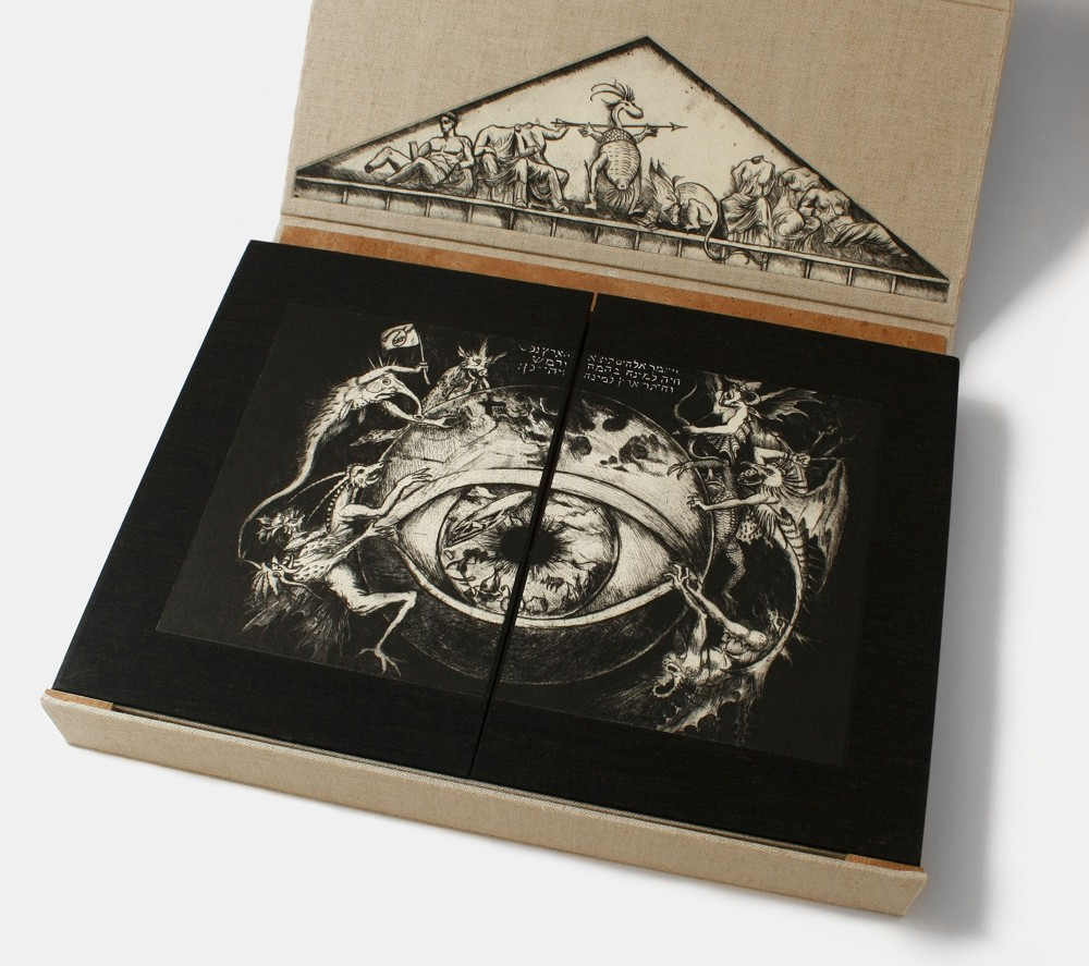 Artist book by Michale Kuch that has an illustration of an eye surrounded by demons