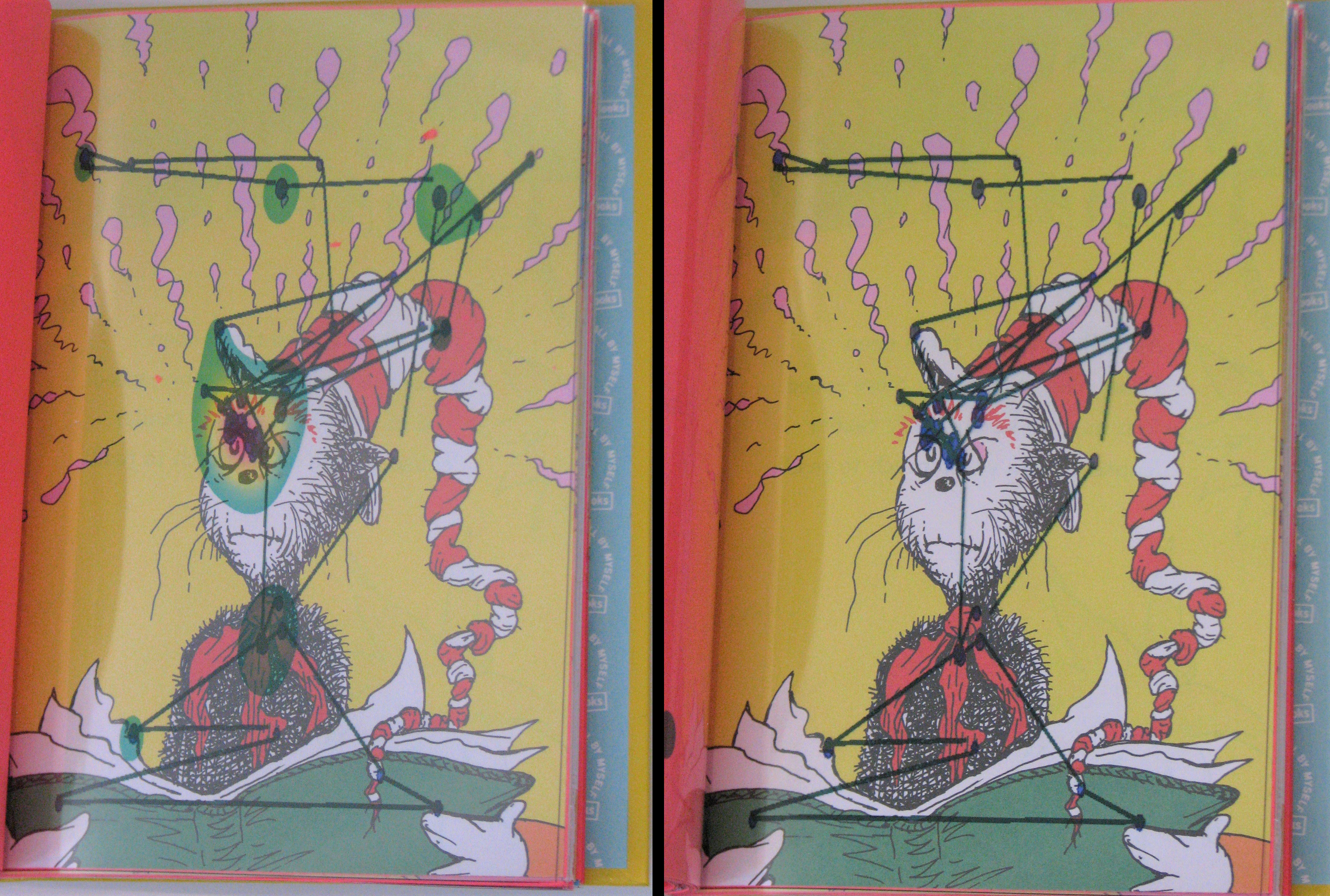 Page of the Dr. Seuss Books showing heat maps and lines of the eye tracking