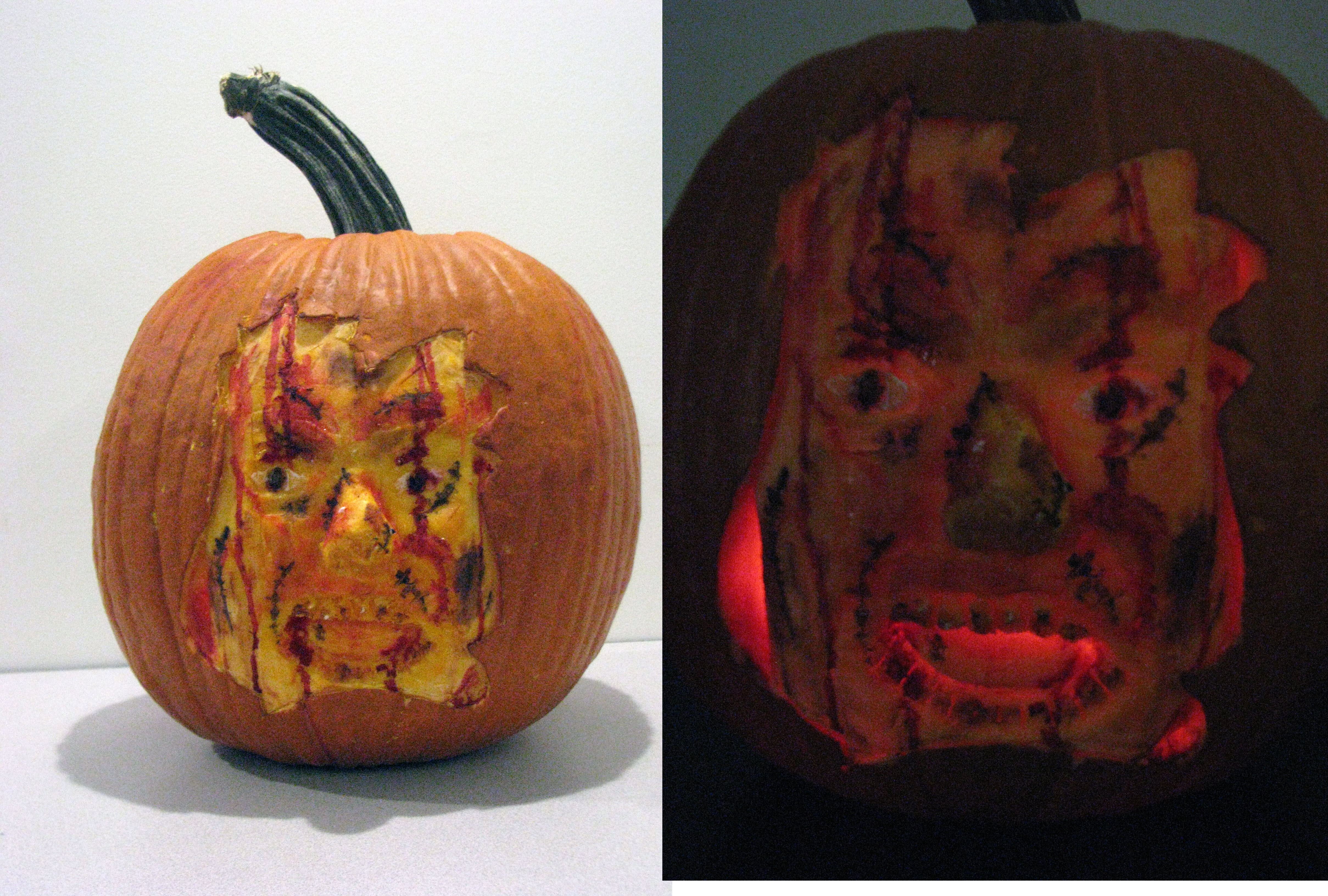 Carved and painted pumpkin