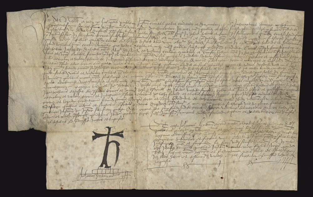 Scan of a 16th century land grant on parchment that is mostly text with a cross in the bottom-left corner