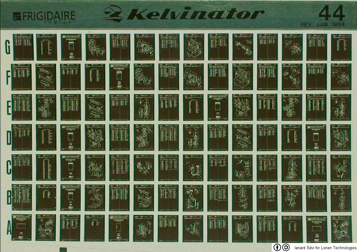 A piece of microfiche with images on an instruction handbook