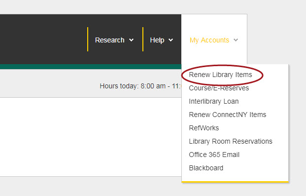 Library homepage with the My Accounts dropdown menu open and the Renew Library Items link circled