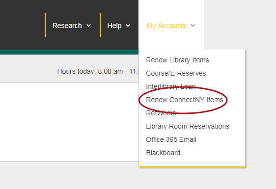 The Library homepage with the link Renew ConnectNY Items circled