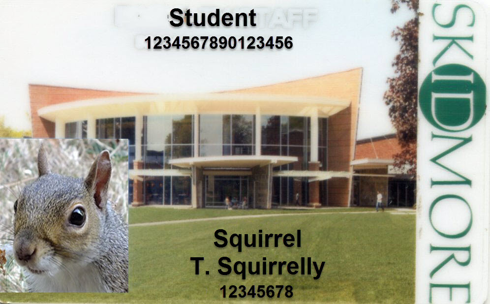 Sample Skidmore ID with an image of a squirrel for the student