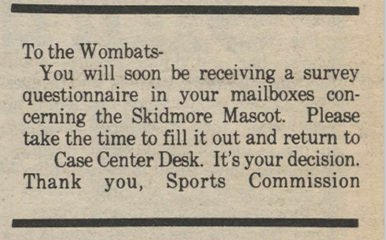 Newspaper Clipping telling students that a survey for the mascot name will be in their mailboxes soon.