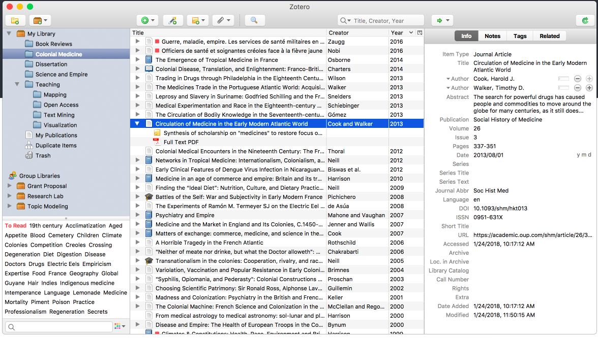 Zotero Library Screenshot