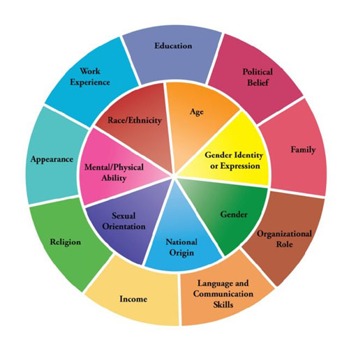 Diversity wheel diagram showing multiple facets of individuality
