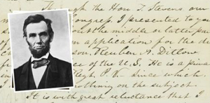 photo of Lincoln with hand-written correspondence