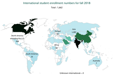 World map showing WSU student enrollment numbers from all six continents.
