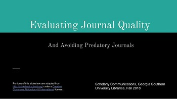 Evaluating Journal Quality