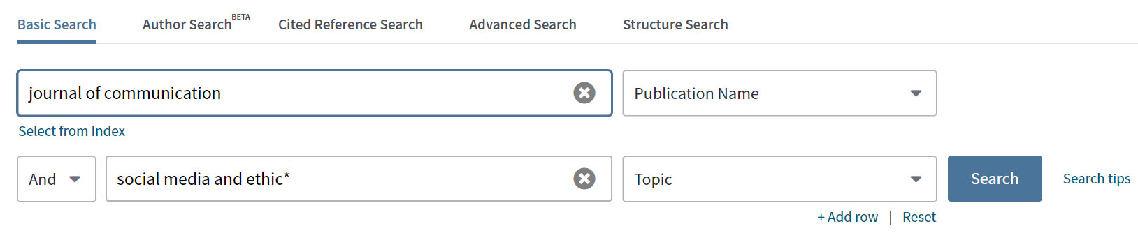 Screen shot showing journal source limit in Web of Science database.