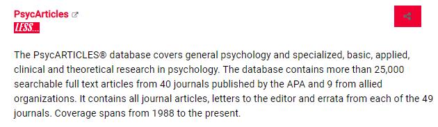 PsycArticles database description snapshot