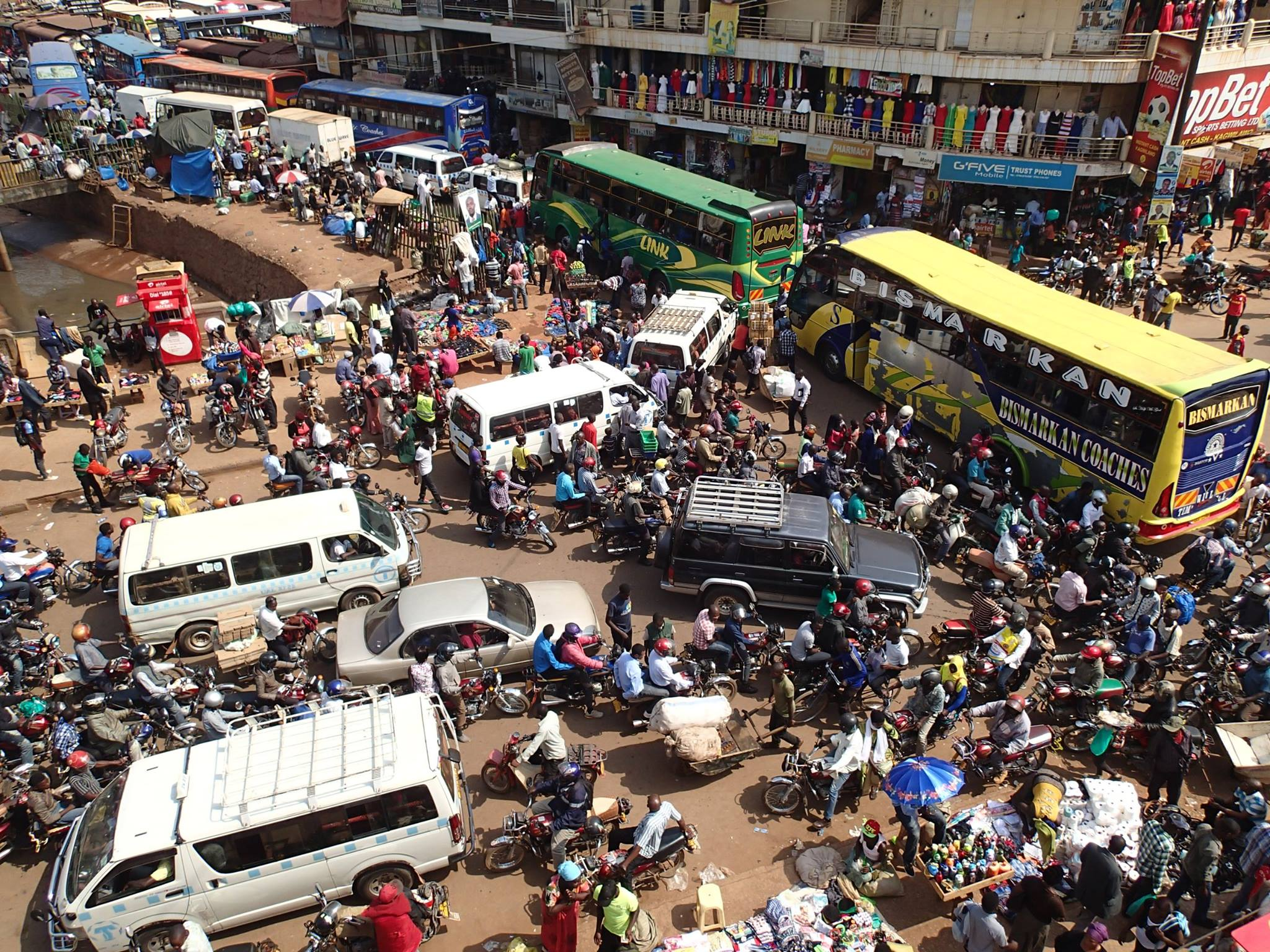 Intersection at City Center of Kampala