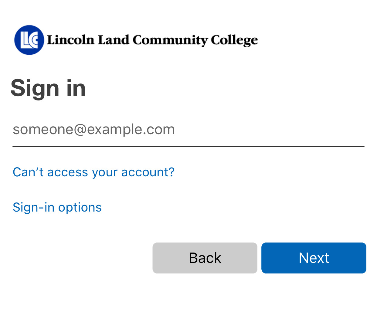 To authenticate to LLCC Library resources, first enter your LLCC email address and click next.