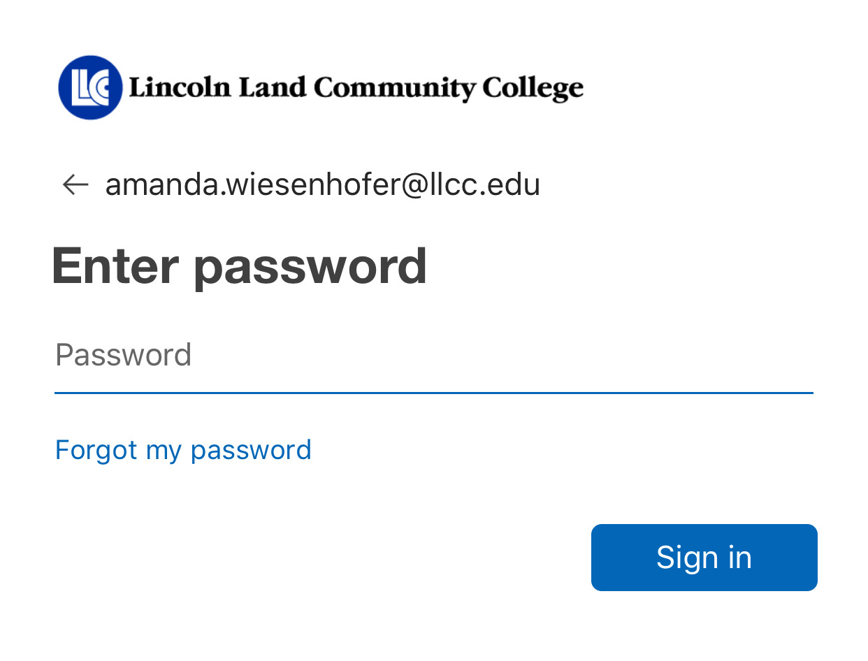 "Enter your LLCC network password, then click ""Sign In."""