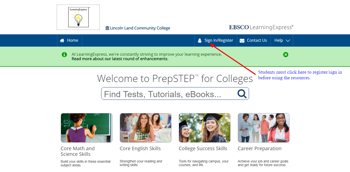Although you can browse PrepSTEP Content without registering for an account and signing in, you must register and sign in to PrepSTEP before using the resources.