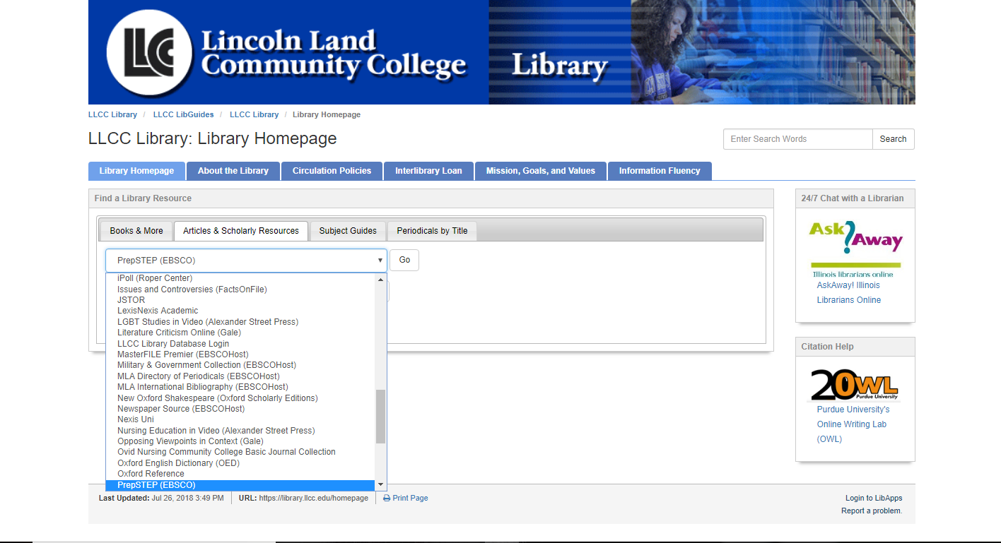 Drop-down menus of library resources are in alphabetical order.  Scroll down the list until you locate PrepSTEP.