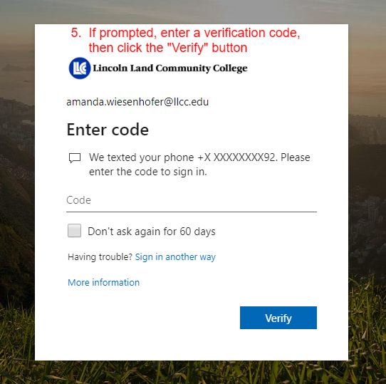 If prompted, enter a verification code and then click verify.