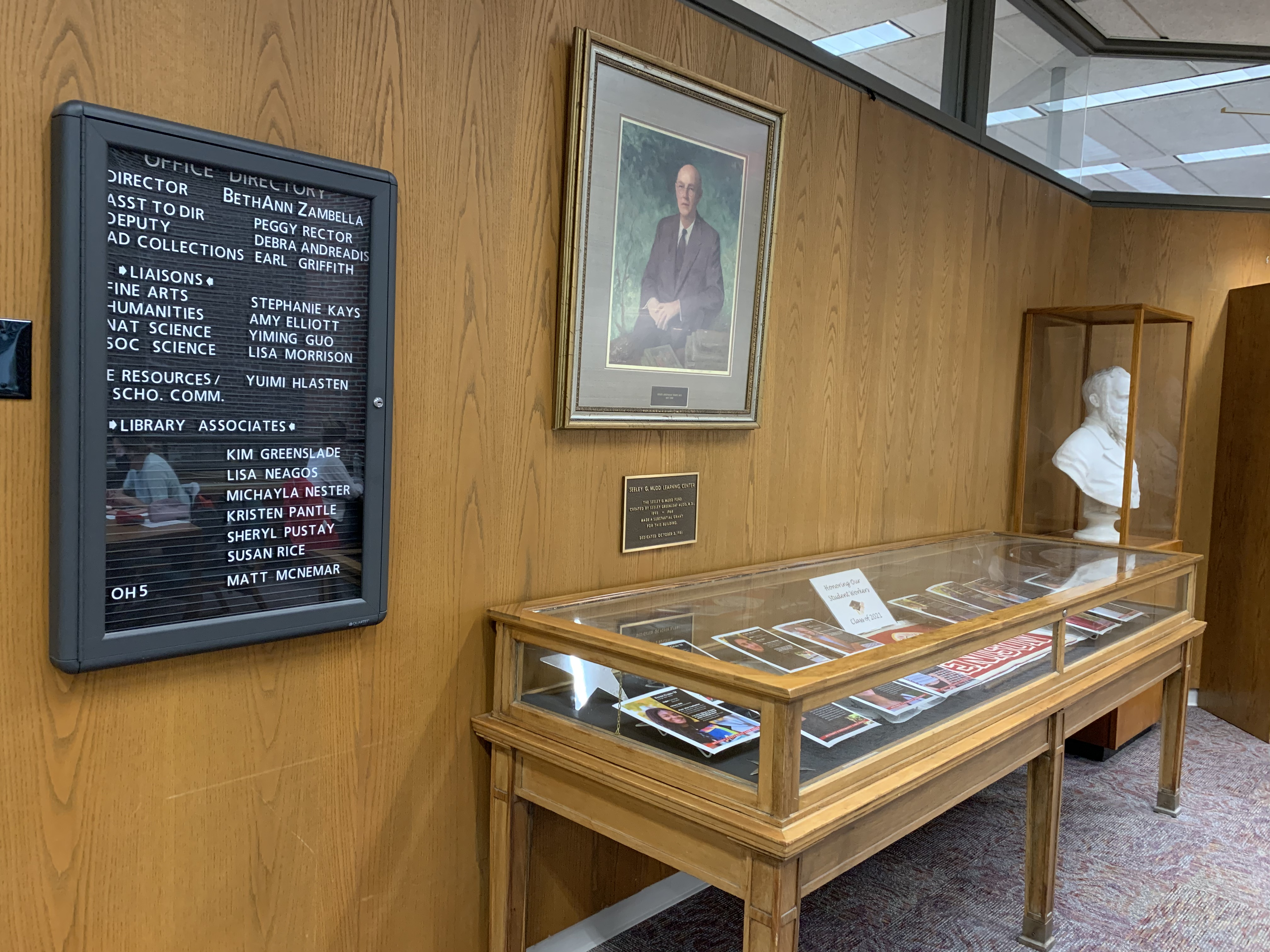 Level 1 staff directory and display case