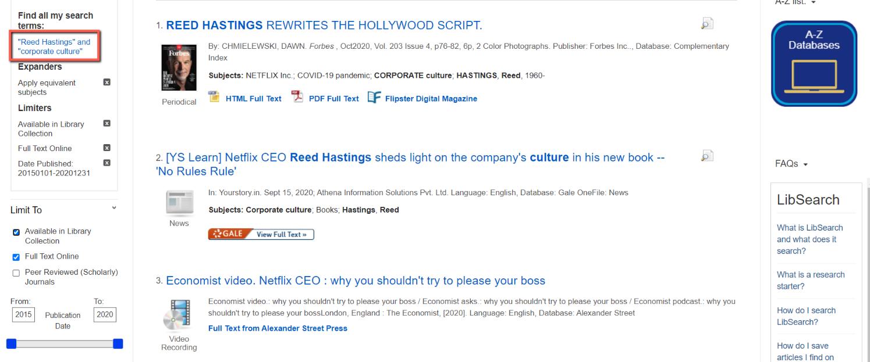 Screenshot of Database Search