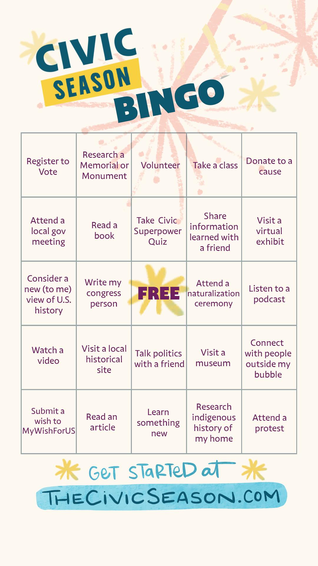 Civic Season Bingo Card