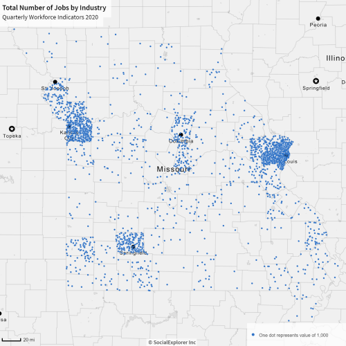 map showing jobs by dot density in Missouri