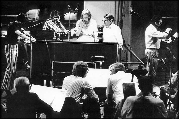 Image of Angela Morley in between recording
