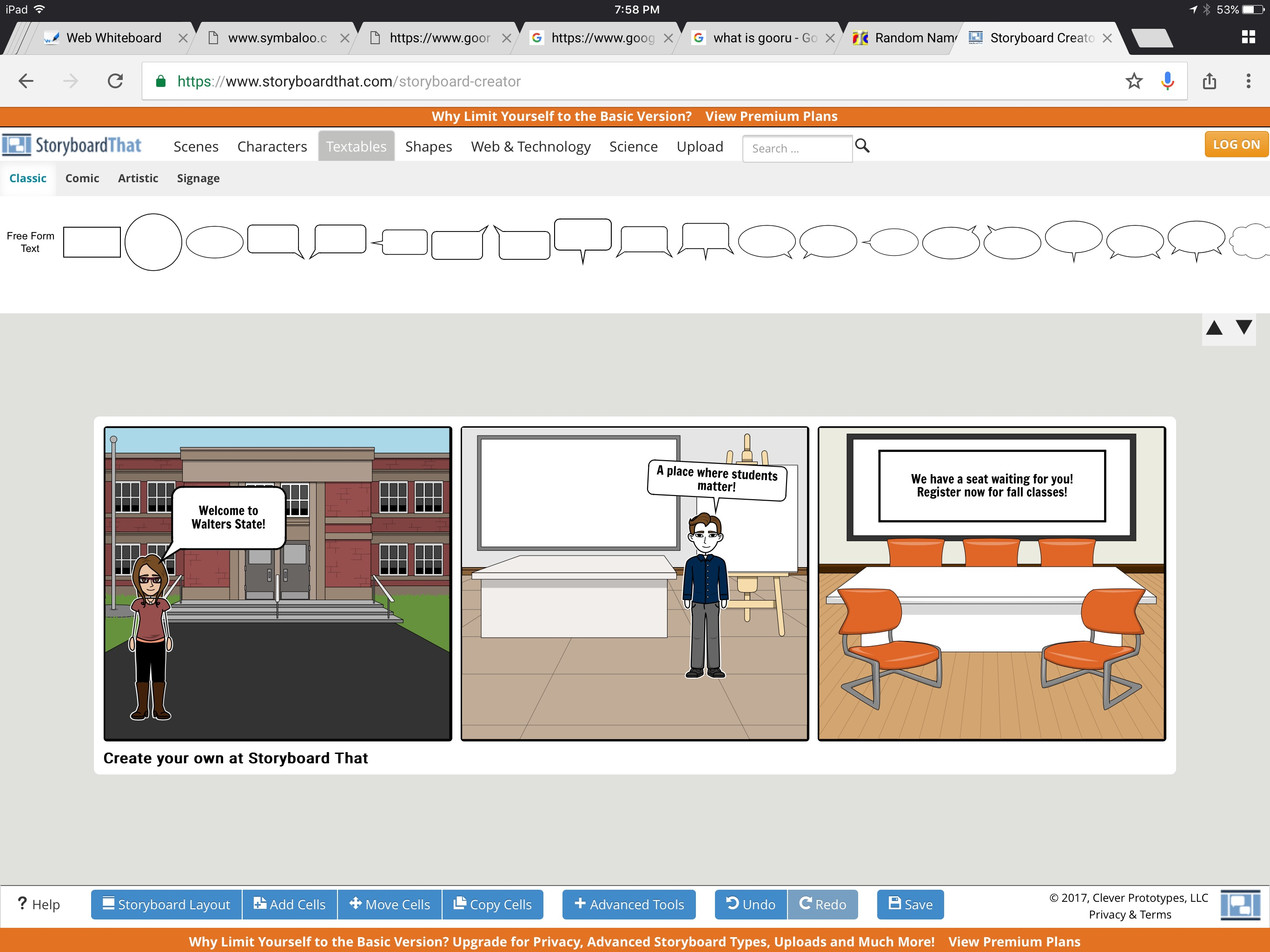 Creating comic strips with StoryBoardThat!