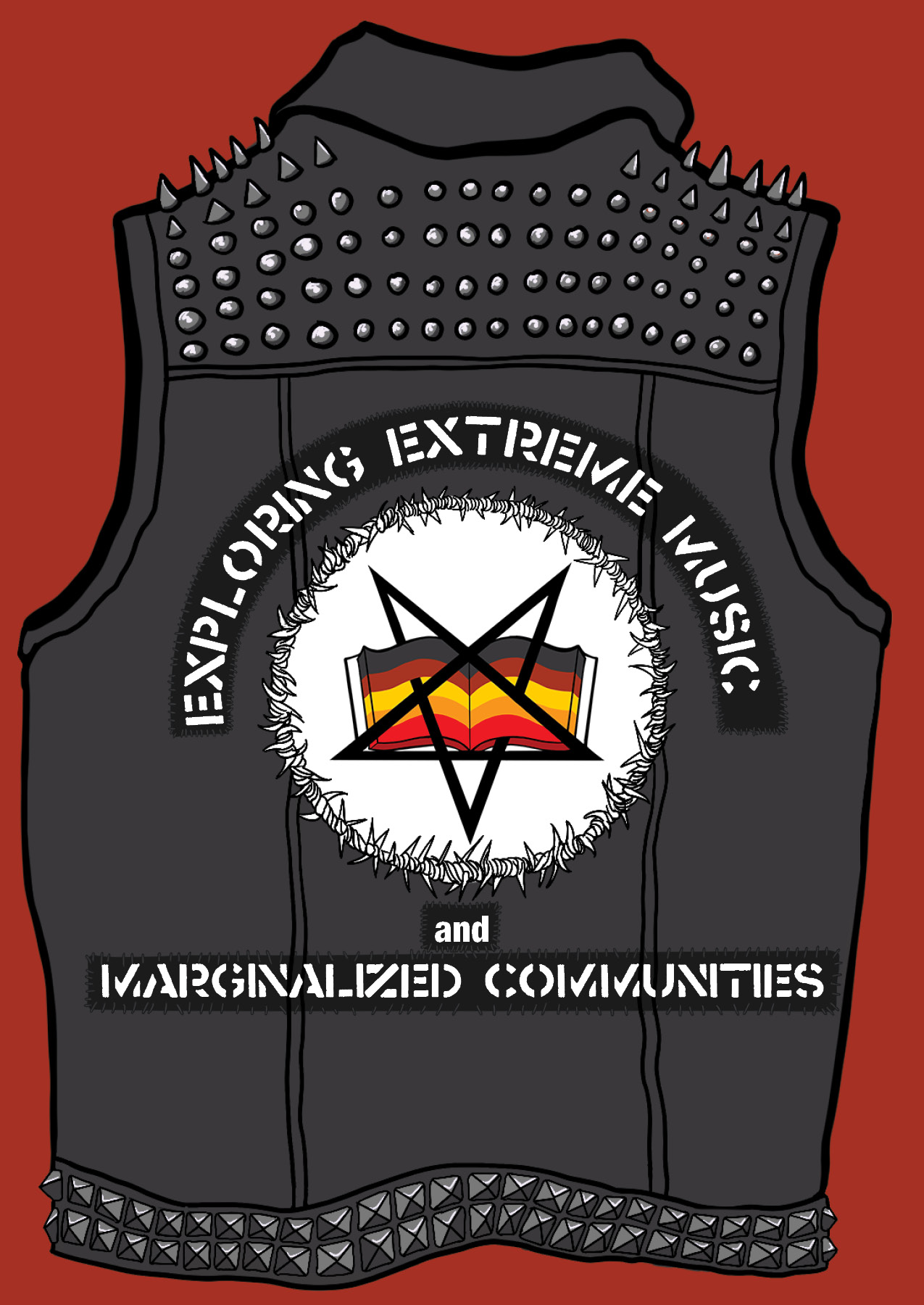 Logo of the Exploring Extreme Music and Marginalized Communities Bibiliography. Art by Ilana Engel.