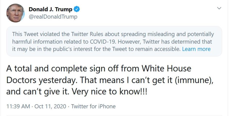 Donald Trump tweet that is an example of propaganda.