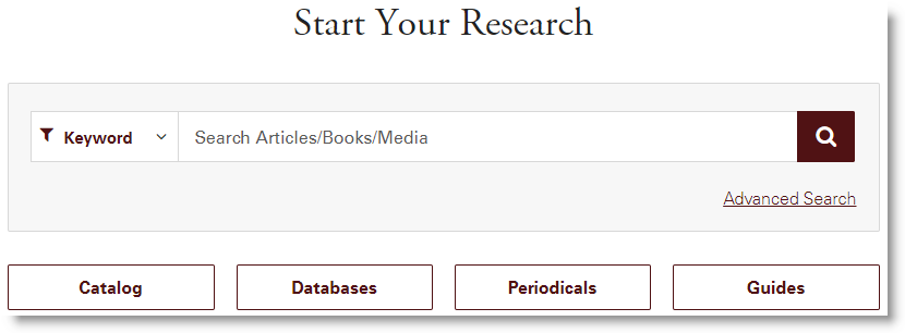 Start Your Research search box