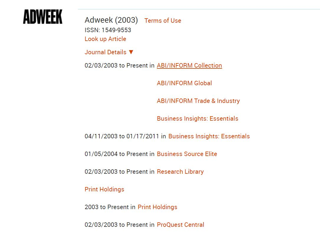 Adweek entry on the library's journals a to z list