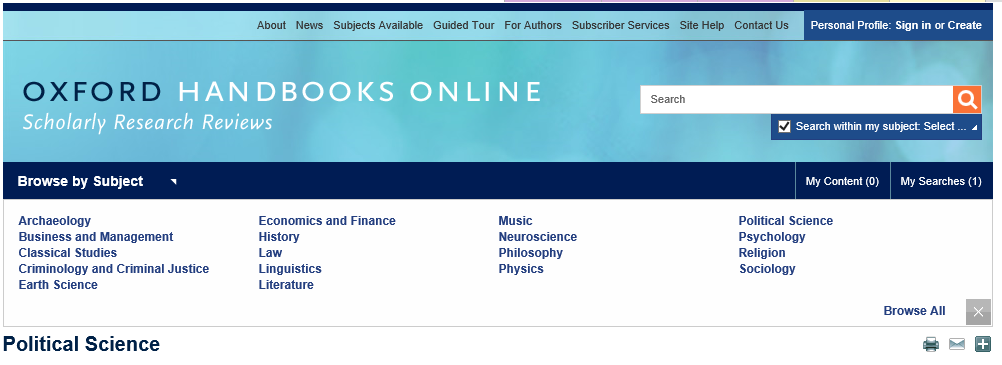 Oxford Handbooks Online Logo and Subject List