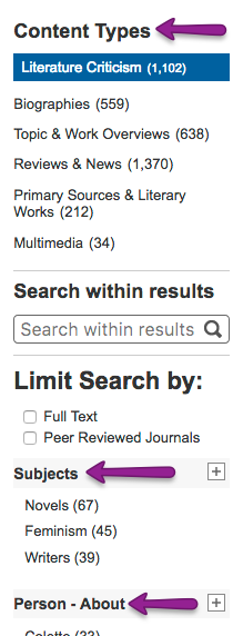 Screenshot of filters on Literature Resource Center'S Search Results page