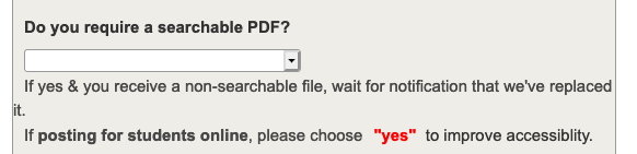 Screenshot of the option to request a searchable PDF on the interlibrary loan article request form.