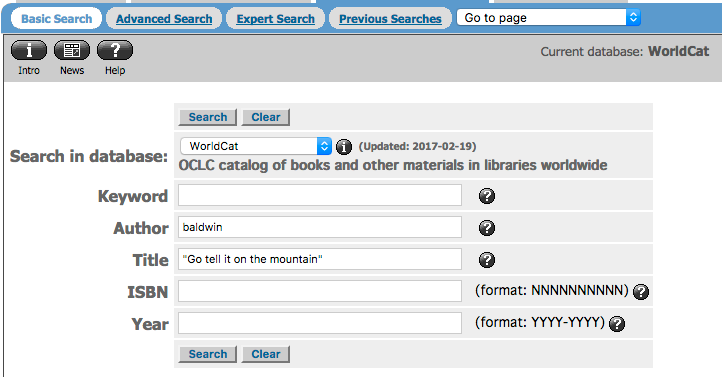 Worldcat featuring an author and title search