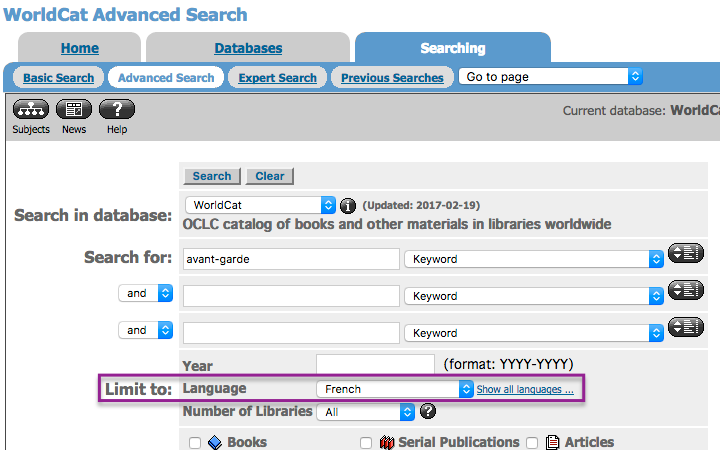 WorldCat Advanced Search page with language limit option