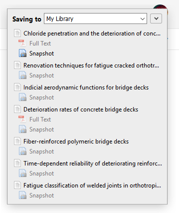 List for selecting Zotero folder