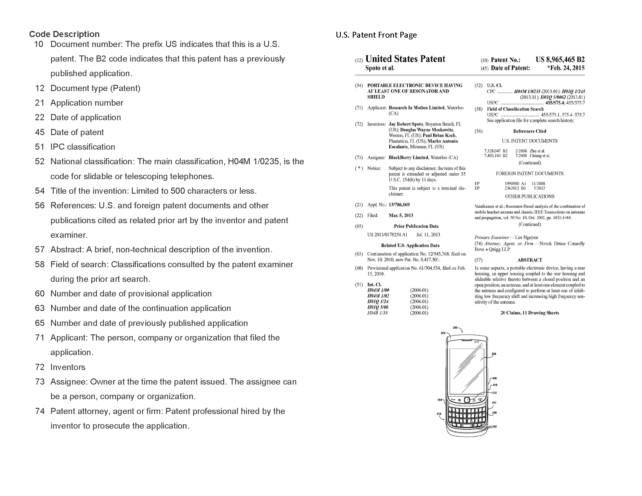 Sample Patent Front Page with Code Descriptions