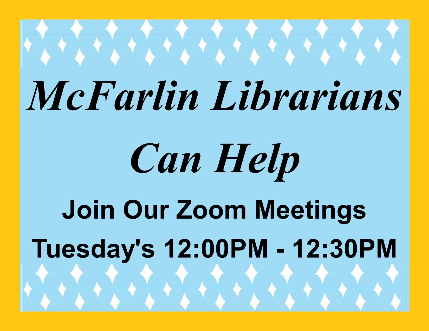 Library Zoom meetings flyer