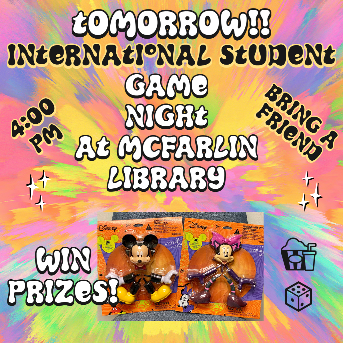 International student game night. October 21st at 4 p.m. in McFarlin Library.