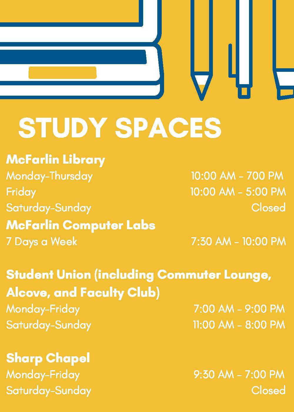 Study spaces on campus