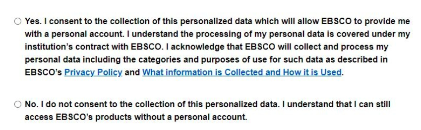 EBSCO Consent choices