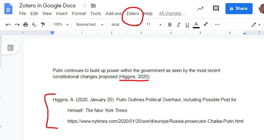 zotero in google docs